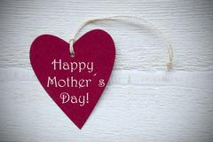 Red Heart Label With Happy Mothers Day - stock photo