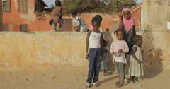 Girls in one streets in Goree, Senegal (4K) Stock Footage