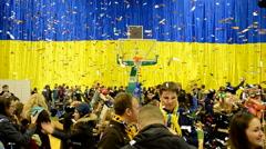 Basketball winner ceremony, championship F4 Final in Kiev, Ukraine. Stock Footage