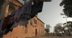 Clothes dried on a line in Goree, Senegal (4K) - stock footage