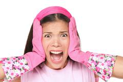 Spring cleaning woman screaming -  Funny cleaning lady stressed Stock Photos