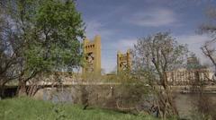 Sacramento Tower Bridge looking North East - stock footage