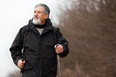 Senior man nordic walking Stock Photos
