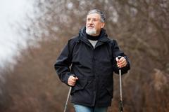 Stock Photo of Senior man nordic walking