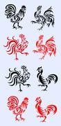 Rooster set decoration - stock illustration