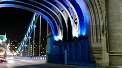 Time lapse shot of street traffic on London Tower Bridge Stock Footage