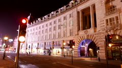 Time lapse shot of Regent street London by night Stock Footage