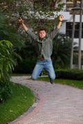Man jumping for joy Stock Photos