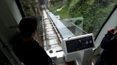 1m Funicular Arrives Montserrat Silent Stock Footage