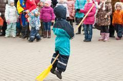 Broomstick running - stock photo