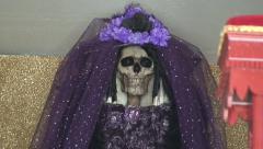 Santa Muerte and Jesus Malverde Figure at Street Shrine, Mexico Stock Footage