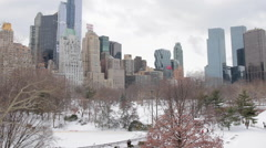 Central Park in New York City in winter snowin New York Stock Footage