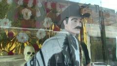 Santa Muerte Figure at Street Shrine, Mexico Stock Footage