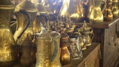 Arabic gold antique vintage coffee pot Stock Footage