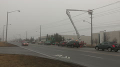 Broken and burning hydro poles after storm Stock Footage