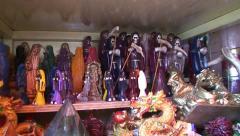 Santa Muerte Figures at Sonora Black Magic Market, Mexico Stock Footage