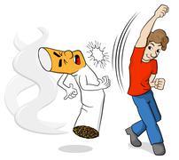 fight against nicotine addiction - stock illustration