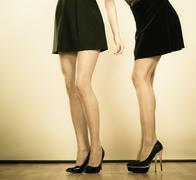 high heels shoes on sexy female legs - stock photo