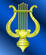 Vector image of vintage gold musical instrument lyre decorated with ornament Stock Illustration