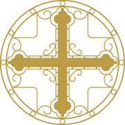 Vector illustration ofGolden Christian Holy cross - stock illustration