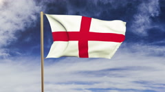 England flag waving in the wind. Looping sun rises style.  Animation loop. Green - stock footage