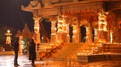 Exterior of Temple at Night Stock Footage
