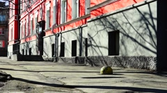 Calm city street in spring day Stock Footage