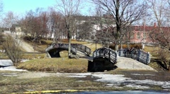 Two bridges in city in spring Stock Footage