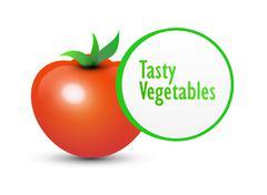 Tasty Tomato and Label - stock illustration