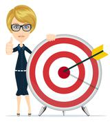 Woman showing victory sign, holding a target with arrow Stock Illustration