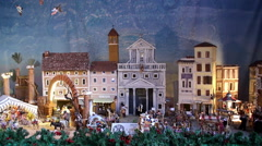 Birth of Jesus diorama at Sant'Eustachio Roman Catholic titular church. Stock Footage