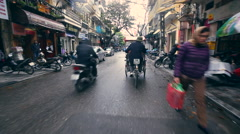 View from rickshaw riding on the road Hanoi Vietnam Stock Footage