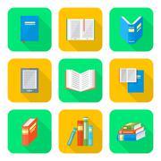 Colored flat style books icons set Stock Illustration