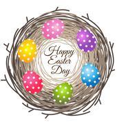 Eggs in bird nest for Easter day greeting card Stock Illustration