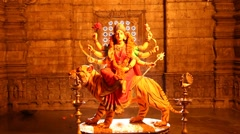 Durga Statue in interior of Temple Stock Footage