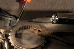 Instruments and tools for working on mechanical parts Stock Photos
