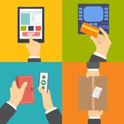 Stock Illustration of Set of business hands action concepts