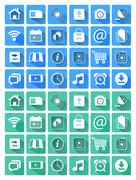 Flat icons for web and mobile applications - stock illustration