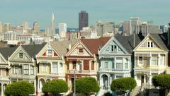 San Francisco downtown buildings skyline over townhouses - stock footage
