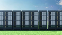 Modern Servers Rack on a Beautiful Landscape with Green Grass and Flowing Clouds Stock Footage