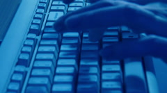 Close Up Typing On Blue Keyboard, real time - stock footage