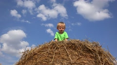 Stock Video Footage of Funny child arrange straws on his head, amusing moments, beautiful rustic summer