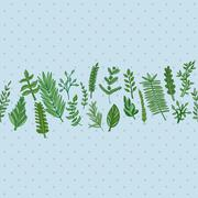 herbal border pattern. hand drawn vector illustration - stock illustration