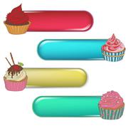 Stock Illustration of Price tag label with a cupcake. Write the text on top.