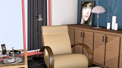 living room interior - stock illustration