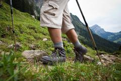 Hiking in high mountains (motion blurred image) Stock Photos