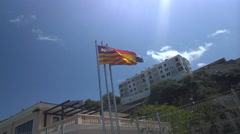 28s Ibizan, Spanish, European Flags Fly Silent Stock Footage