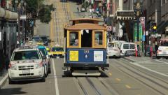 San Francisco trolley cable car in downtown Stock Footage