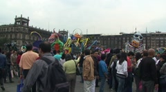 People on Zocalo. Day Of Dead Celebration. Mexico City. Fly Cam Stock Footage