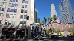 Pershing Square in Los Angeles downtown business buildings Stock Footage